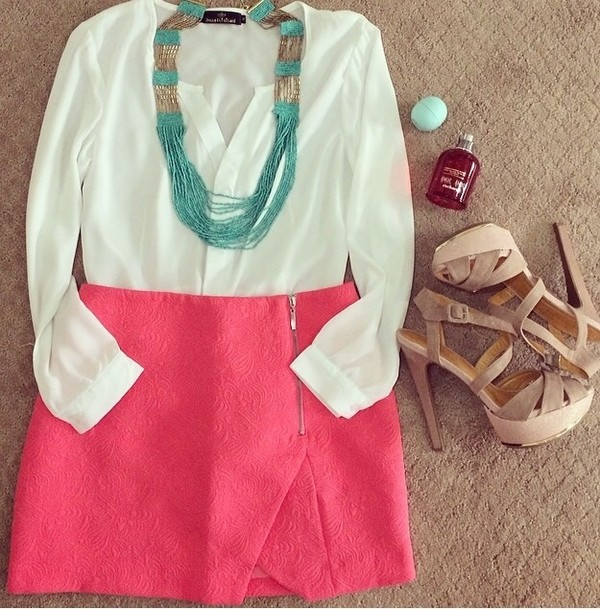 skirt shoes pencil skirt blouse pink white turquoise necklace