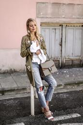 ohh couture,blogger,dior sunglasses,parka,patch,white shirt,dionysus,designer bag,gucci bag