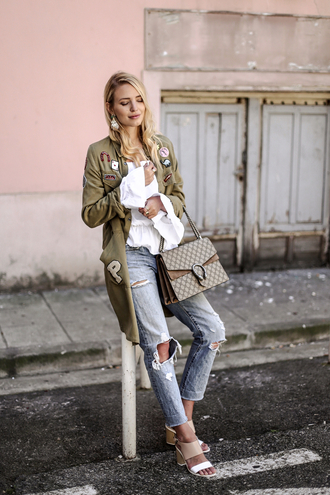 ohh couture blogger dior sunglasses parka patch white shirt dionysus designer bag gucci bag