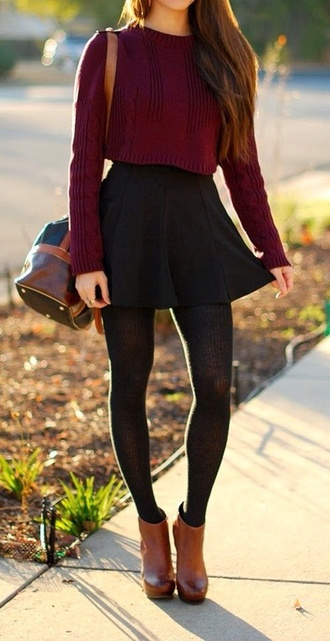 sweater cropped sweater burgundy wine red wine crop tops fall sweater leggings knit leggings black black leggings outfit skirt red lime sunday tights shoes fall bag warm long sleeves fall outfits winter outfits winter/autumn autumn colours blouse maroon/burgundy red blouse black skater skirt tan booties