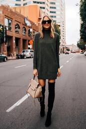 fashionjackson,blogger,dress,shoes,bag,sunglasses,thigh high boots,handbag,sweater dress,turtleneck dress,mini dress,knitted dress,suede boots,black boots,cashmere jumper,over the knee boots,black sunglasses