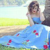 dress,sherri hill,denim dress,denim,high-low dresses,prom dress,embroidered,floral,blue dress,strapless