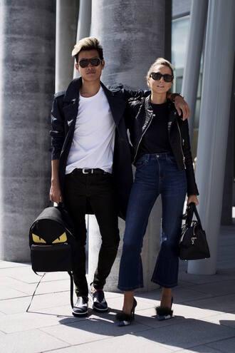 alexander liang blogger coat t-shirt jeans shoes sunglasses jewels