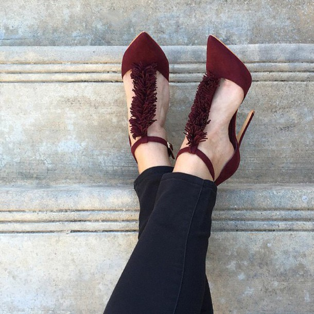 495bb875c637 shoes burgundy burgundy fringes pointed toe pointed toe pumps pointy heels  love christmas gojane d