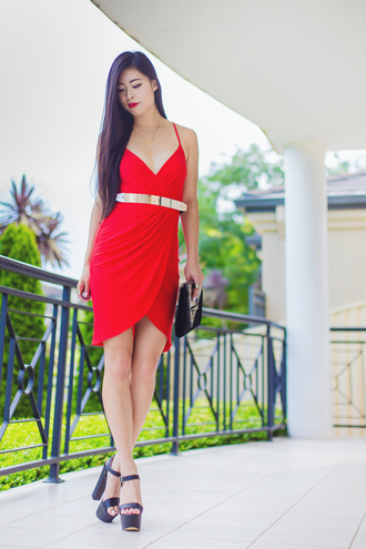 metallic paws blogger red dress belted dress