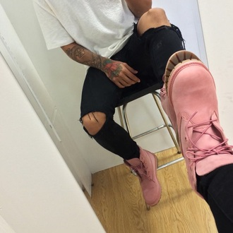 shoes boots pink timberlands pink boots