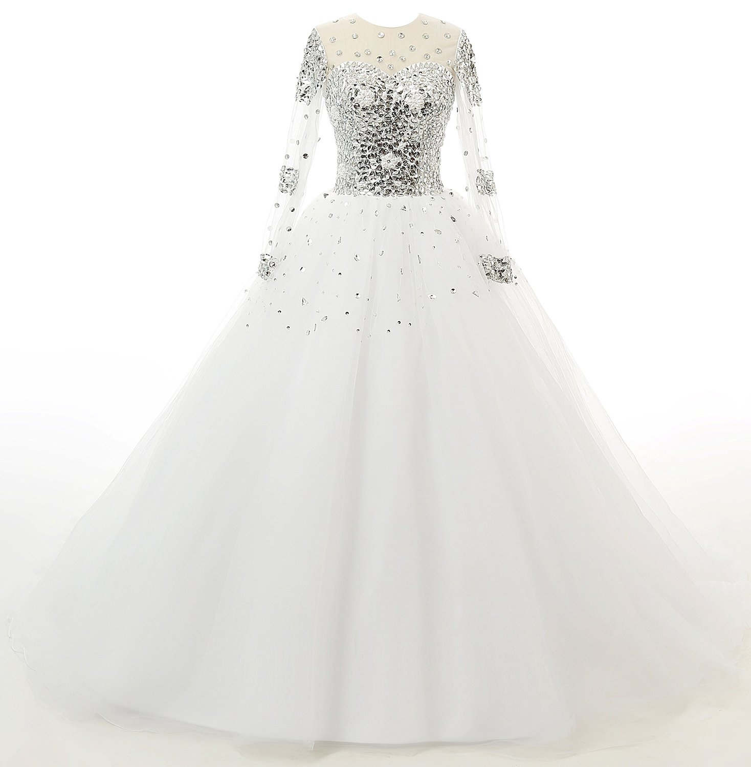 L39ivresse women39s long sleeves crystals tulle ball gowns for Amazon cheap wedding dresses