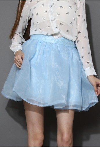 Sweet Memory Pastel Blue Organza Skirt - Retro, Indie and Unique Fashion