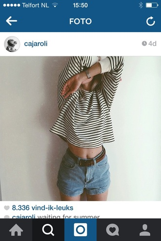 shirt tumblr hipster summer black and white indie blue girl vintage striped shirt shorts
