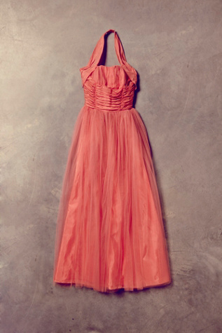 free people womens vintage coral tulle dress