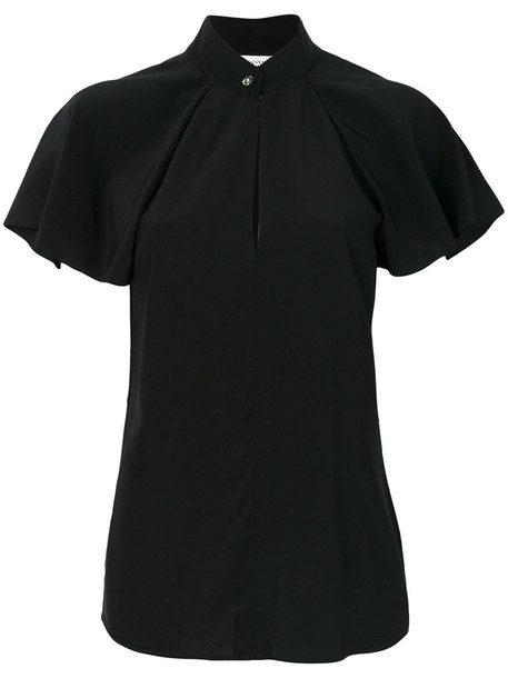 lanvin blouse ruffle women black silk top