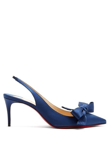 christian louboutin pumps satin navy shoes