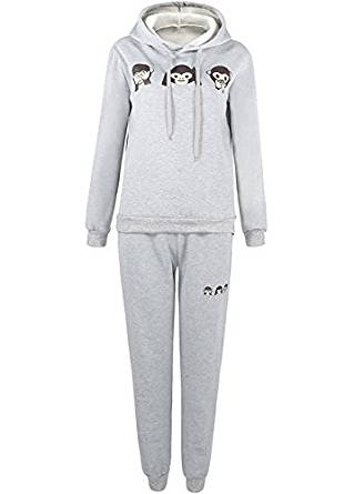 Jubileens Womens 3D Emoji Monkey Print Tracksuit Pullover Hoodie and Sweatpants Set at Amazon Women's Clothing store: