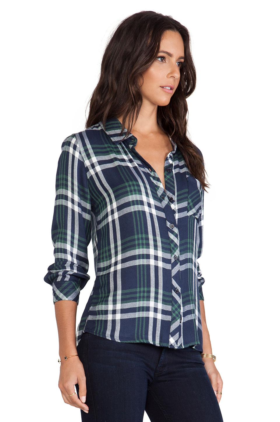 Rails hunter button down in navy & green from revolveclothing.com