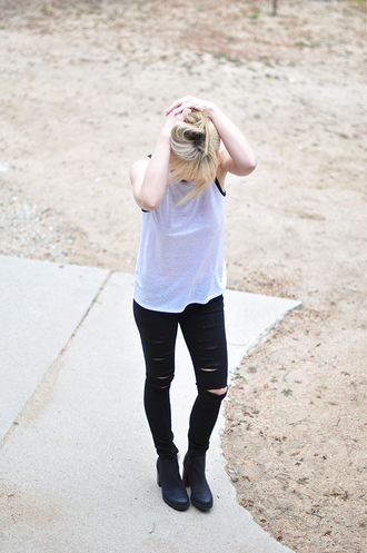 love maegan blogger tank top black ripped jeans white tank top
