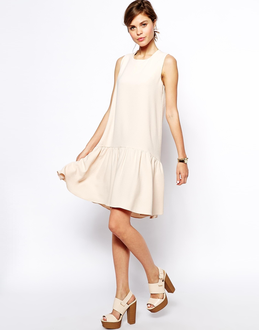 ASOS Swing Dress in Texture with Dipped Hem at asos.com