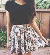 skirt,tumblr outfit,flowers vintage,dress,floral skirt,flowers,short dress,floral,white,spring,summer,floral skater skirt,t-shirt,pretty girly fun colourful,flowers\,girly,fashion,hipster,tumblr,jewels,skater skirt,black crop top,blouse,tumblroutfit,cute,lovely,amazing,crop tops,boho,indie,bohemian,hippie,outfit,weheartit,chiffon,chiffon skirt,pink flowers,flowered skirt,white floral skirt