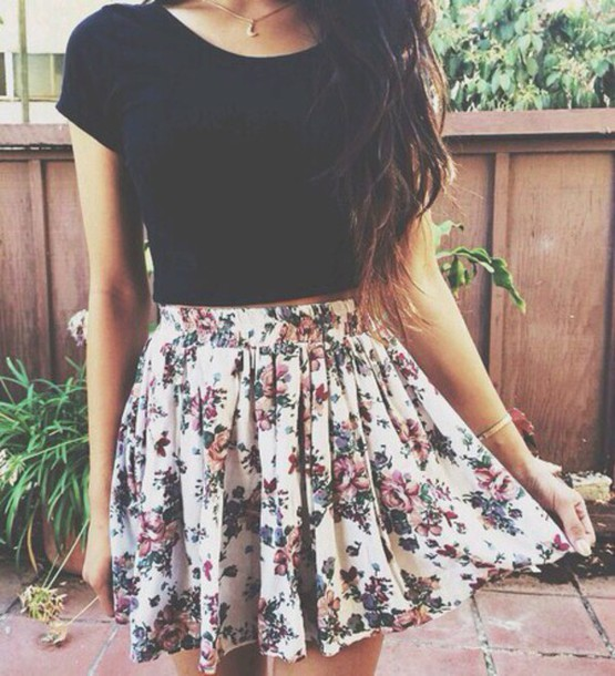 dress flowers short dress skirt t-shirt pretty girly fun colourful floral skirt flowers\ floral floral skater skirt black crop top blouse tumblr tumblroutfit cute lovely amazing summer lovely crop tops crop tops spring boho indie bohemian hippie hipster outfit weheartit tumblr outfit floral skater skirt chiffon chiffon skirt pink flowers flowered skirt white floral skirt shirt floral
