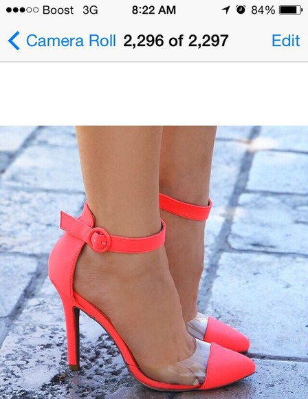 coral ankle strap high heels high heel pumps pointy toe