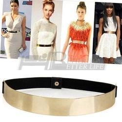 Online shop 1pcs sexy lady women metallic bling gold plate slim simple band elastic metal waist belt yks