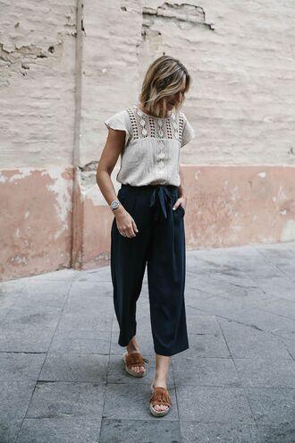 pants white pattern shirt black pleated pants brown sandals blogger