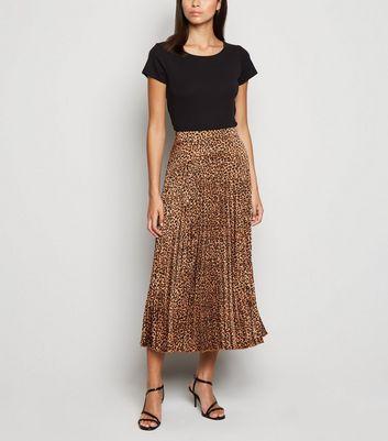 Brown Leopard Print Pleated Midi Skirt | New Look