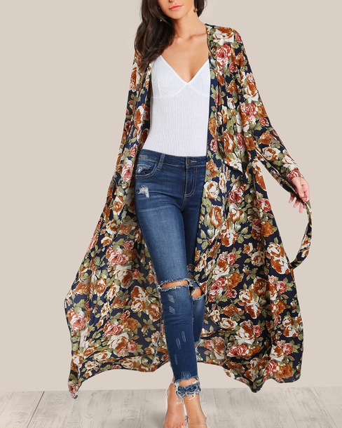 cardigan embroidered girly oversized cardigan long cardigan long floral flowers