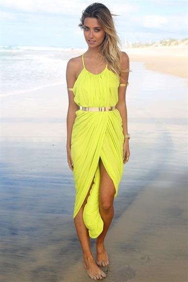 Free Shipping 2014 Summer New Fluorescent Color Elegant Temperament Condole Belt Dress Sexy High Waist Beach Holiday 13907   Amazing Shoes UK