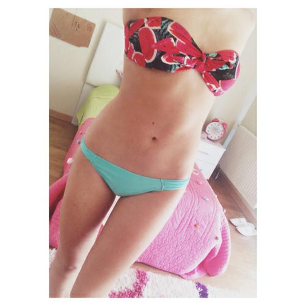 swimwear waterlelon bikini green