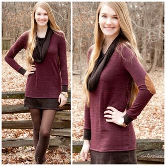 dress amazing lace cowl neck fashionista elbow patches burgundy mocha