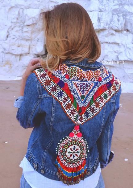 jacket boho customised ethnic bohemian tribal pattern embellished denim denim jacket. Black Bedroom Furniture Sets. Home Design Ideas