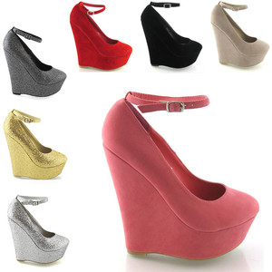 High Heel Platform Wedge Womens Full Close Toe Ankle Strap Shoes ...
