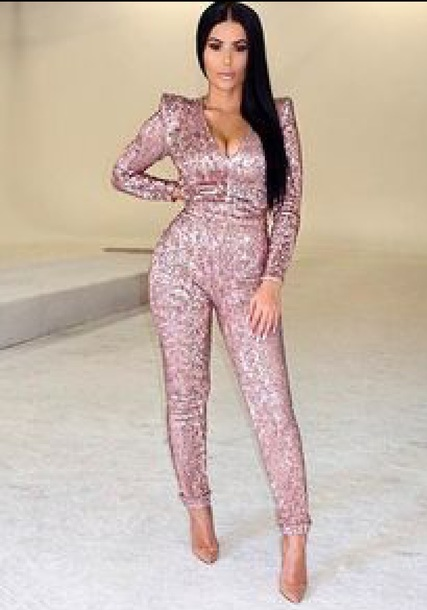 jumpsuit pink sequin pants jumper sexy catsuit