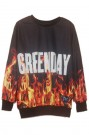 Letters & flame print sweatshirt, the latest street fashion