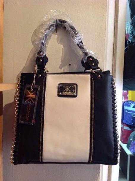 bag kk black and white kk bag fashion tote bag stripes