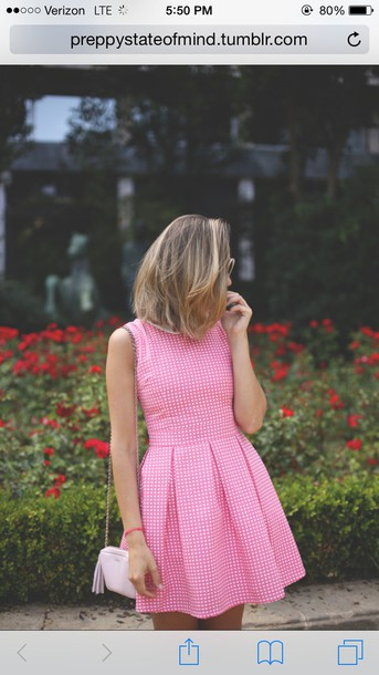 dress pink polka dots collared dress a line dress preppy gingham