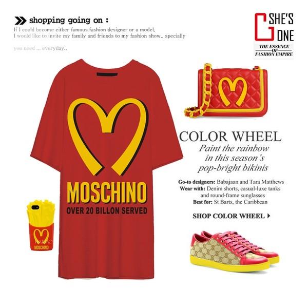 shirt mcdonald's red casual