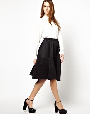 ASOS | ASOS Full Midi Skirt with Tiered Seam Detail at ASOS