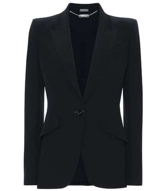 Alexander McQueen Single-breasted crêpe blazer in black