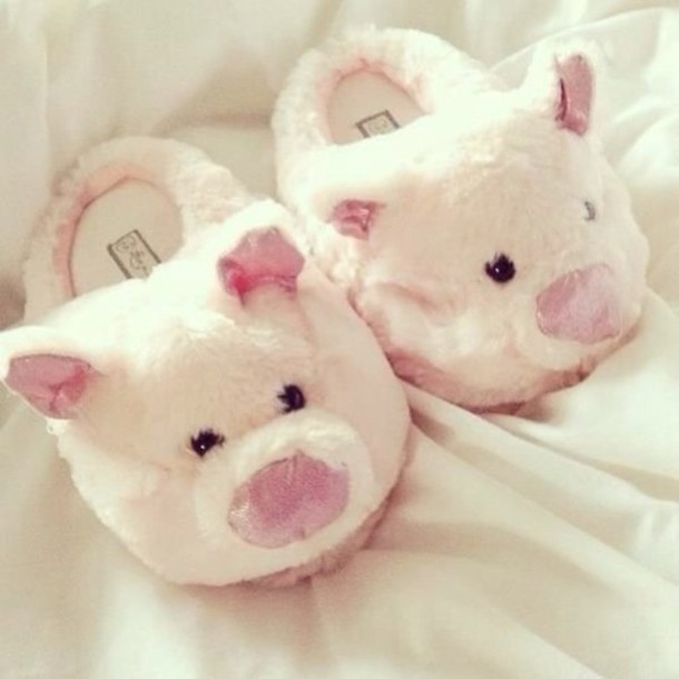 Shoes Slippers Cute Piggy Furry Comfy White Pink