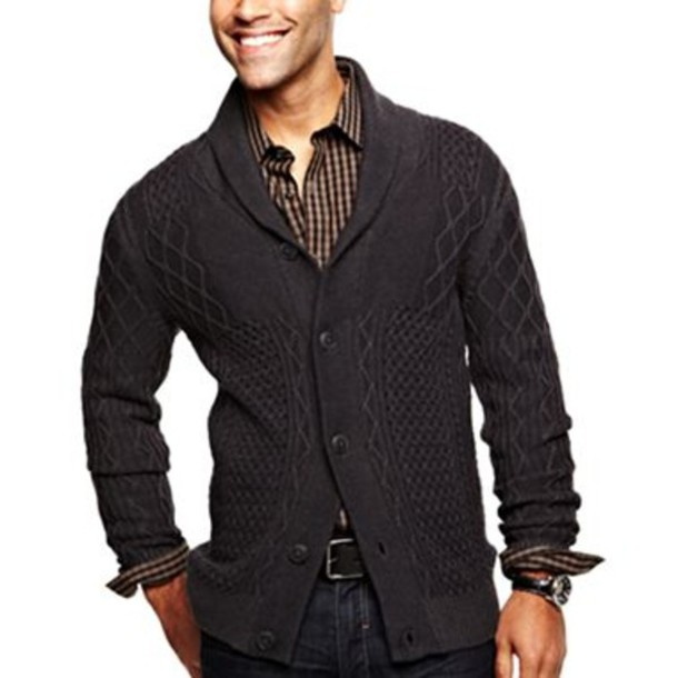 Sweater: j.ferrar, black sweater, mens cardigan - Wheretoget