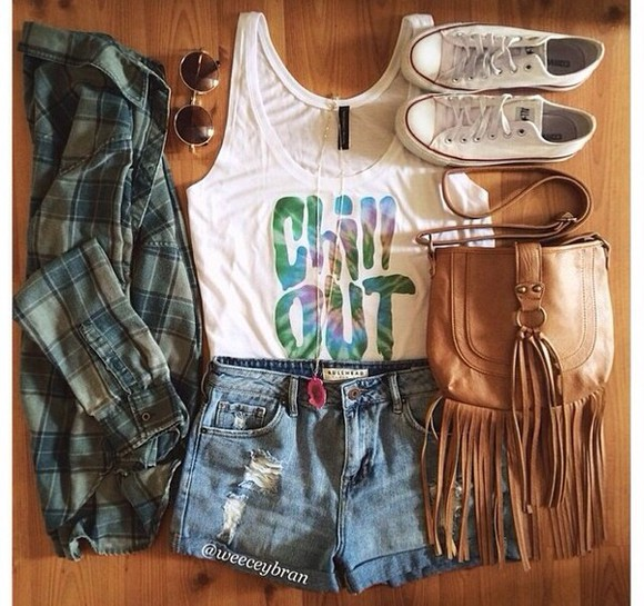 shoes shorts t-shirt jewels shirt top white cute fashion cardigan denim shorts bag quote on it flannel tank top chill out converse sneakers sunglasses brown bag outfits