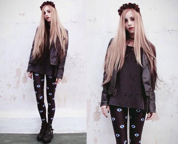 eye leggings grunge soft grunge pattern leggings pattern eye pattern high shine black leggings