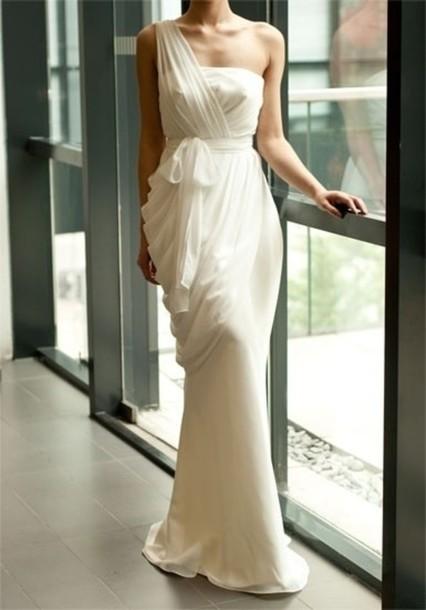dress white dress prom dress one shoulder white long dress maxi dress wedding dress