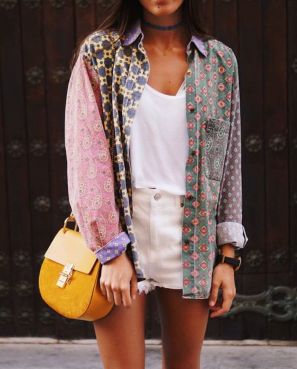 jacket retro white yellow pink vintage blouse hipster colorful shirt bohemian flannel paisley patchwork swag mixed print print printed shirts swagg t shirt clothes style oversized button up purple girly boho hippy shirt blue button downs polo shirt summer ninauc pattern green pockets collar shirt collar brown long sleeves button up daisy top plaid cardigan