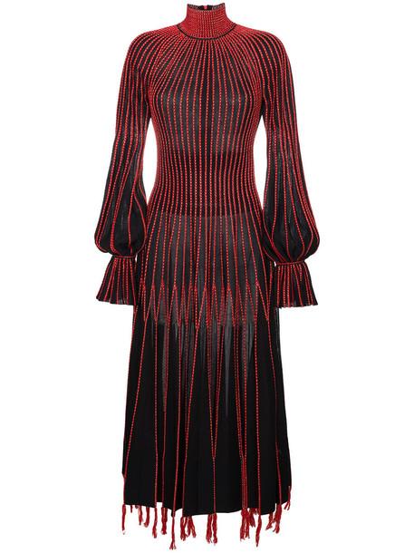 dress turtleneck dress embroidered women spandex black silk
