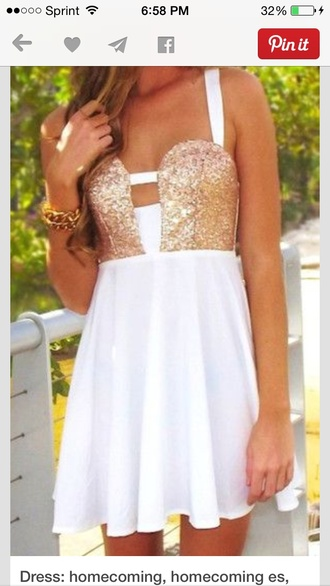 white and gold dress homecoming dress sparkly straps gorgeous