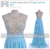 dress,sky blue dress,long prom dress,rhinestones