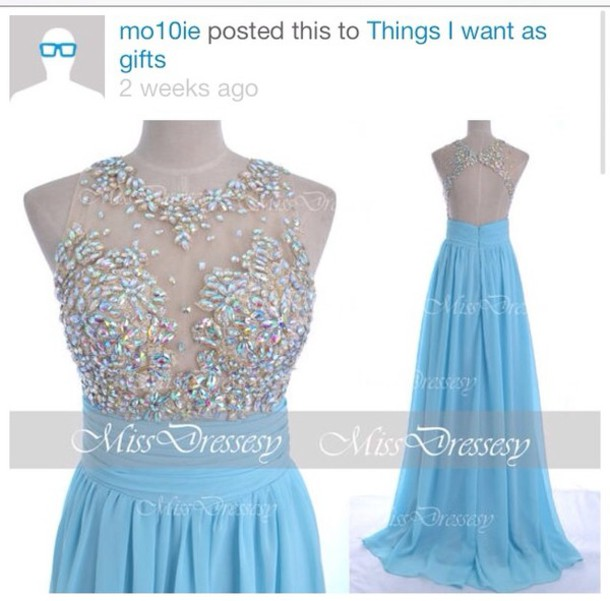 dress sky blue dress long prom dress rhinestones