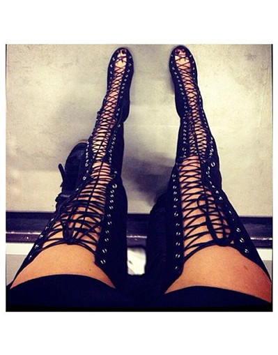 Thigh high boots open toe cut out strappy gladiator heels booties